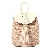 fechamentos de mochila venda por atacado-Manta de tecido palha branca senhora com borla decoração Forro listrado Fechamento de ímã Senhora sacos vegan B-001