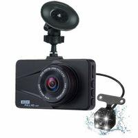 usb gizli video kamera toptan satış-Çizgi Kam Araba DVR 3.0 Inç Gece Görüş Kamera Video Gizli Çift objektifli Cam Araba Cam DVR USB Monitör Sürüş Kaydedici Görüntü