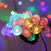 водонепроницаемый светодиодный глобус оптовых-5M 6.5M 7M 12M LED Солнечный Глобус Bubble Ball String Lights 20/30/50 / 100LEDs Открытый Водонепроницаемый Рождественский Декор Ball Light String