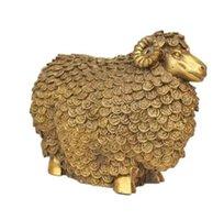 zodiac feng shui venda por atacado-NOVO ++ O cobre Zhaocai Wangcai ovinos Mobiliário Doméstico colocar dinheiro Feng Shui zodíaco jóias artesanato