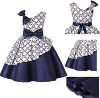 Wholesale block princess resale online - Sloping Shoulder Kids Dresses for Girls Summer White Plain Dark Blue Color Block Princess Wedding Party Dress European Children Clothing