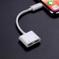 cabo de carregamento duplo venda por atacado-Adaptador de carregador de áudio para iphone x 8 fone de ouvido duplo cabo aux para conversor de iluminação para iphone xs cobrando splitter