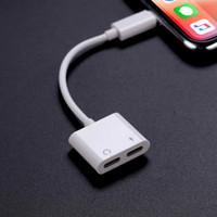 yük çevirici toptan satış-Ses Şarj Adaptörü iphone X 8 Çift Kulaklık Aux Kablosu Aydınlatma Dönüştürücü için iPhone XS Için Splitter Şarj