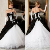 victorian corset sexy plus al por mayor-Vestidos de boda blancos y negros del vestido de bola de la vendimia 2019 Venta caliente Backless Corset Victorian Gothic Plus Size vestidos de novia baratos