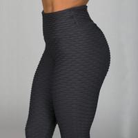 anti kırışıklık pantolonu toptan satış-Yeni Spor Anti Selülit Doku Tayt Kadın Pantolon Katı Yüksek Bel Egzersiz Kırışıklık Tayt Pantolon T190613