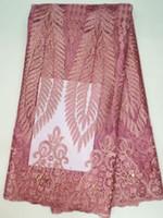 новые пароли оптовых-Высококачественные французские кружевные ткани с камнями бисером, розовый африканский французский тюль кружева для свадебного / праздничного платья