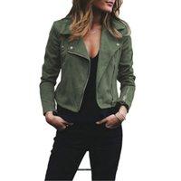 zip up tops achat en gros de-Veste en cuir pour femmes manteau col rabattu manches longues dames manteaux manteaux zippés Biker Flight Outwears vêtements