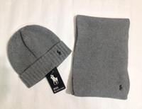 şapka eşyaları erkeklerle buluşuyor toptan satış-POLO Kış marka şapka ve eşarp erkekler kadınlar sıcak tasarımcı örme Beanies eşarplar için kümeler ve şapkalar 2019 setleri