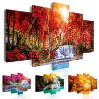 pinturas de peônias florais venda por atacado-5 Painel Bela Cachoeira Paisagem Pintura Flores Modernas Imagens na Lona Moderna Sala de estar Decoração de Escritório, Sem Moldura