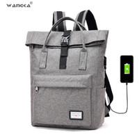 venda de mochilas laptop venda por atacado-2019 Venda Quente Mulheres Mochila de Lona Sacos De Escola para Meninas de Grande Capacidade USB Carga Homens Mochila Laptop