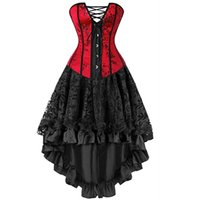 roter dessousrock großhandel-Sexy Korsett Kleider Plus Size Kostüm Vollbrust Burlesque Korsett und Rock Dessous Set Tutu Korsett Victorian Fashion Red