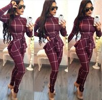 Wholesale spot jumpsuit resale online - 2019 autumn and winter women s casual plaid jumpsuit tie women Europe and the United States women s new spot