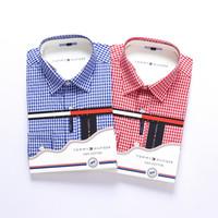herren langarm polo blau großhandel-Baumwollhemd Herren Business Casual Herren Langarmhemden Büro Slim Fit Formell Camisa rot Blau Rosa Markendesigner Polo-Shirts