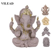 india religiosa al por mayor-Vilead Naturaleza Arenisca Indio Ganesha Estatuilla Religioso Elefante Hindú Estatuas de Dios Fengshui Elefante con cabeza de Buda Escultura Q190522