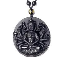 estatua de kwan al por mayor-Joyería fina excelente natural puro obsidiana Guanyin Kwan-yin Bodhisattva Buda estatua collar colgante envío gratis