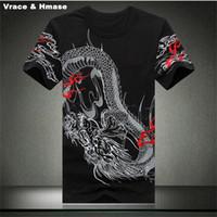 ingrosso magliette di drago cinesi-Maglietta di stampa del ricamo del modello del drago di stile cinese homme 2016 maglietta del cotone di qualità di modo di estate uomini, nero, bianco M-4XL