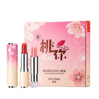Wholesale peach lipsticks resale online - 2 Peach Matte Lipstick Set Waterproof Non stick Cup Lasting Color Fade Matte Micro Flash Lipstick Set