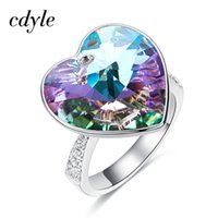 Wholesale swarovski wedding gift for sale - Group buy Cdyle Crystals From Swarovski Heart Wedding Rings Party Jewelry Luxury Romantic For Women Best Gift Fashion Ring C19041201