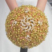 kristall roségold brosche großhandel-Goldperlen Elegante Hochzeit Brautsträuße Perlen Handgefertigte Blumen Kristall Rose Hochzeit Liefert Braut Brosche Bouquet