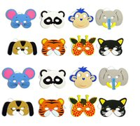mascarillas de animales para niños al por mayor-108 piezas 12 Asst Kids Foam Animal Face Masks Zoo Farm Party 1 Set (12 tipos de animales) Suministros para fiestas de cumpleaños H47