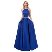 evening dress al por mayor-Satén con cuentas Una línea Vestidos de noche largos 2019 Royal Blue Black Halter Neck Vestidos de noche Vestido de gala Robe De Soiree