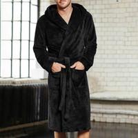 artı boyut havluları toptan satış-Erkekler Sonbahar Kış Uzun Kalın Sıcak Kadife Bornoz Katı Havlu Uzun Robe Pijama Artı Boyutu 4XL 5XL Erkekler Kimono Kapşonlu Robe