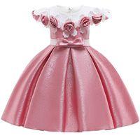 ingrosso vestiti da partito eleganti per la ragazza dei capretti-Baby Girl 3d Flower Silk Princess Dress For Wedding Party Abiti eleganti per bambini per bambini ragazza Abbigliamento moda J190520