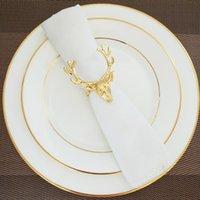 wölbt tierisches metall großhandel-10 stücke Exquisite hirschkopf serviettenschnalle Western serviettenring ring gehobenen Europäischen tier restaurant hotel dekoration