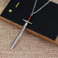 espada dos homens colares venda por atacado-JOGO DE TRONOS JON SNOW Espada colar de Metal- LETRA ABERTO colar Espada colar de Presente Das Mulheres Dos Homens de Jóias