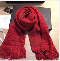 ingrosso lunghe sciarpe di seta uomini rossi-Inverno LOGOMANIA SHINE Sciarpa Sciarpa di seta di lana di alta qualità Donna e uomo Sciarpe lunghe di lana a due lati nero rosso Sciarpe di fiori Scialli