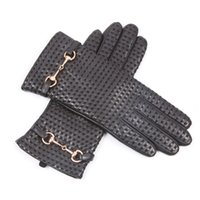 Wholesale leather mittens xl resale online - Autumn Winter Woman Genuine Leather Gloves Imported Sheepskin Wool Lined Fashion Metal Button Driving Female Mittens EL044NZ
