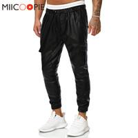 pantalon de jogging en faux cuir pour homme achat en gros de-Mode élastique Faux cuir hommes Cargo Pantalons Pantalons en cuir multi-poches Joggers Sweatpants Streetwear Pantalones Hombre XXL
