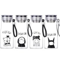 Wholesale glass travel mug resale online - 350ml oz Fashion Cute Water Bottles Sport Water Bottle Outdoor Camping Tumbler With Rope Mug Travel Portable Water Glass Cup VT1568