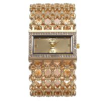 relógio de pulso de casamento venda por atacado-Mulher de luxo Relógios de Quartzo Hora Mão Pulseira Pulseira Relógios de Pulso Liga Relógios com Cristal Acessórios Do Casamento Presentes