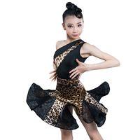 ingrosso abito bambino salsa-Nuovo costume da ballo latino per ragazze Ballroom Salsa Tango Gonne Kid Child Leopard Dance latina Split Dress con body e gonna