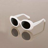 óculos de rocha venda por atacado-Moda Óculos de Proteção NIRVANA Kurt Cobain Óculos Clássicos Do Vintage Retro Branco Preto Oval Óculos De Sol Alienígenas Shades Óculos De Sol Do Punk Rock De Vidro