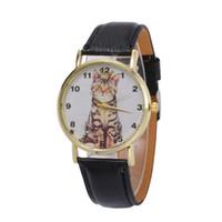 кошачьи кожаные часы оптовых-Fashion Lovely Cat Women Watches PU Leather Quartz Wrist Watch For Women Girls reloj mujer Round Watch bayan kol saat