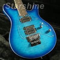 corpo de guitarra quilted maple venda por atacado-JEb6042 guitarra elétrica FR Ponte acolchoado bordo Veneer Blueburst Cor parafuso em Basswood corpo Rosewood Fingerboard