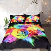 juego de cama 3d rosas al por mayor-Azul Hechicera del lecho de la impresión 3D cubierta del Duvet de rosas de colores Ropa de cama florales 3pcs funda de edredón acuarela