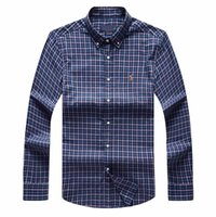 ingrosso camicie blu plaid-bbbb Spedizione plaid risvolto camicia da uomo a maniche lunghe in cotone da uomo Blu Navy POLO Camicie Oxford Business Casual camicia da cavallo piccolo vestiti s-xxxl