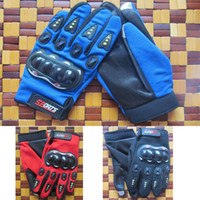 Wholesale red carbon full finger gloves resale online - Mens Outdoor Sports Full Finger Knight Riding Motorbike Motorcycle Gloves D Breathable Mesh Fabric Men Cross country Locomotive Glove QP009