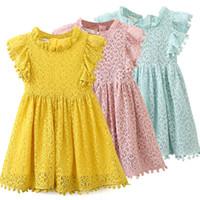 neue babymädchen kleidet entwurf großhandel-Mädchen Kleid 2019 Neue Sommer Marke Mädchen Kleidung Spitze Und Ball Design Baby Mädchen Kleid Partykleid Für 3-7 Jahre