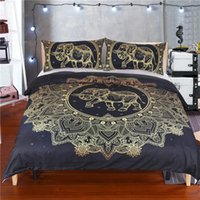 Wholesale 3d elephant bedding set resale online - Gold Elephant Queen Size Bedding Set India Style Creative Sacred D Duvet Cover King Home Dec Double Single Bed Cover with Pillowcase