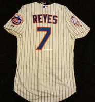 ingrosso pullover bianco blu rosso vuoto-Cheap NY 7 # Jose Reyes Coolbase MRMET PATCH Jersey Mens cucito all'ingrosso grande e grosso DIMENSIONE maglie camicia XS-6XL