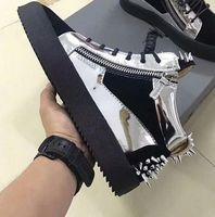 sapatos de marca original para homens venda por atacado-Saco de pó Original Box, 2019 Novo Designer Marca de Alta Top Sapatos Casuais, Homens das Mulheres de Couro Genuíno Primavera Outono Flats 35-47