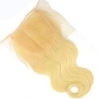 rus çörekleri top toptan satış-Sarışın Avrupa Remy İnsan Saç Dantel Kapatma 4x4 613 rus Vücut Dalga Düz Sarışın Bakire Saç Bleach Üst Kapaklar Eki Sınıf 10A