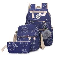 sacola roxa venda por atacado-Carregador USB Mochila Canvas 3 Pcs / Set Mulheres Escola Mochilas Schoolbag para adolescentes Man Student Saco de livro Meninos Satchel roxo