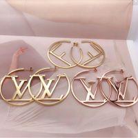 metallvögel verkauf großhandel-Neue Ankunft Berühmte Designer F Brief Edelstahl Ohrstecker Hochwertige Mode Stil Gold Rose Hoop Für Frauen Ohrringe