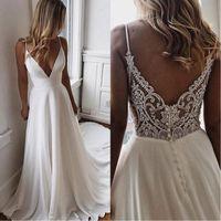 brautkleider großhandel-Einfache V-Ausschnitt Chiffon A Line Boho Brautkleider 2020 Perlen Applique Formale Brautkleider Günstige Benutzerdefinierte Braut Kleid Vestidos De Novia
