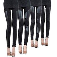 leggings de panel negro al por mayor-Venta CALIENTE Señoras de cuero Look Panel Leggings Jeggings para mujer pantalones elásticos pantalones negros